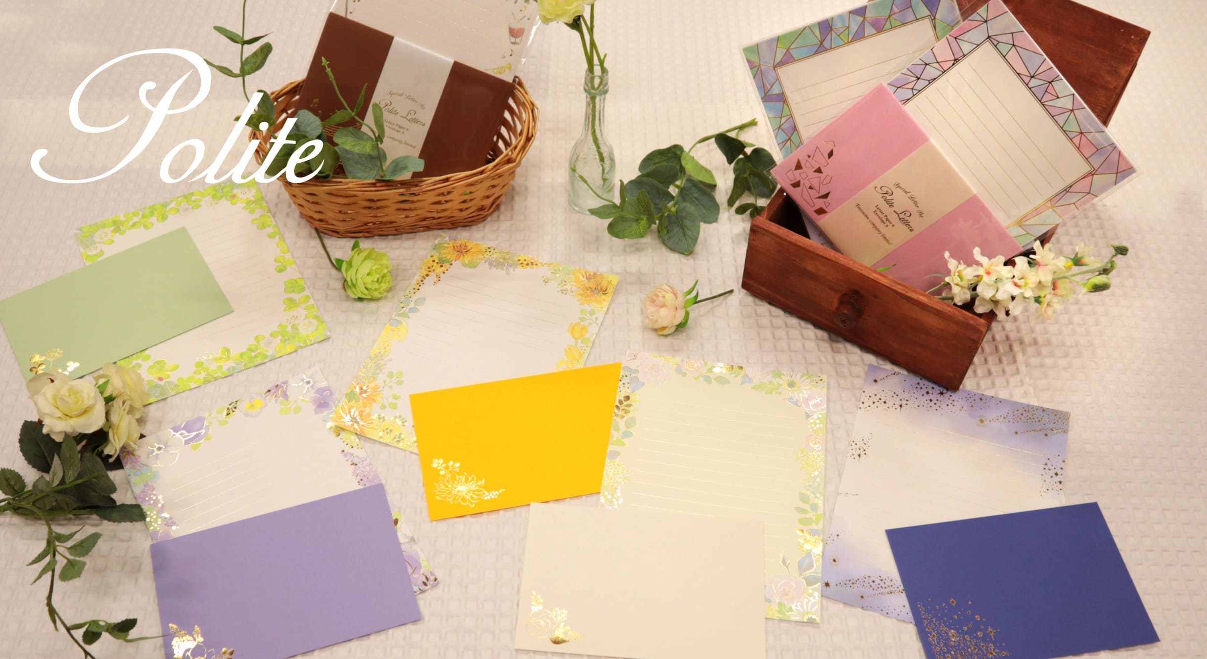 水彩花柄に輝く箔押しのレター&ミニカード