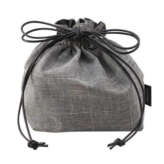 【巾着バッグ】<br /> ATグレンチェック巾着 L