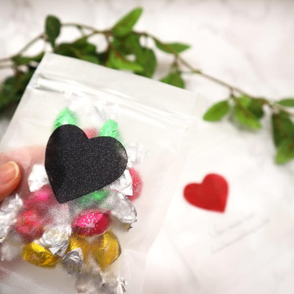 【バレンタイン】ジッパーバッグ 60枚入 ラメフィルム シンプルハート Sサイズ