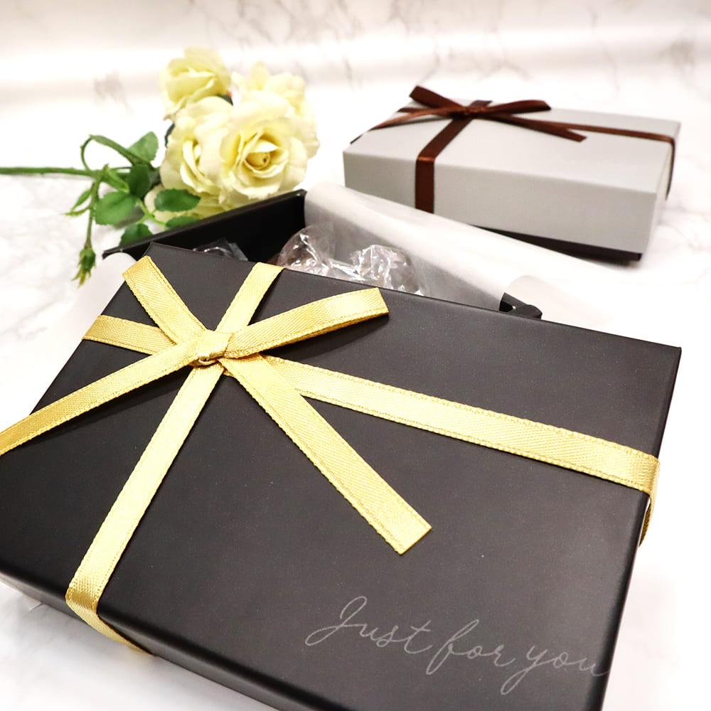 【バレンタイン】生チョコBOX リボン ブラックグレー